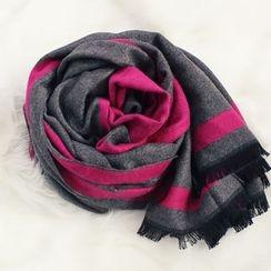 DANI LOVE - Contrast-Trim Long Wool Blend Scarf
