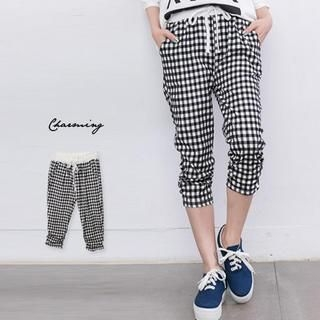 Lucky Leaf - Drawstring-Waist Ruched Gingham Capri Pants