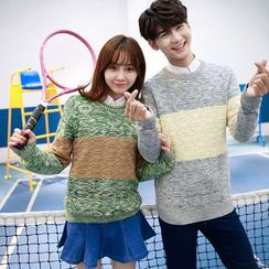 CASSY - Color-Block Couple Matching Sweater