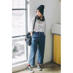 SUYISODA - Cropped Wide Leg Jeans
