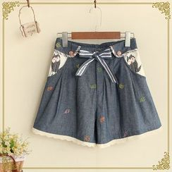 布衣天使 - 蝴蝶结腰蕾丝边短裤