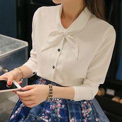 Q.C.T - Tie-Neck Long-Sleeve Shirt