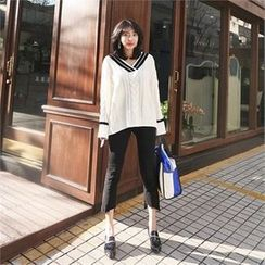 LIPHOP - Contrast-Trim V-Neck Cable-Knit Top