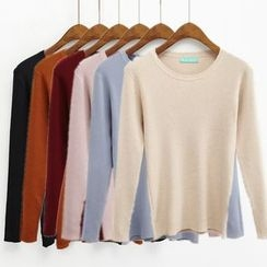 MATO - Plain Long Sleeve Knit Top