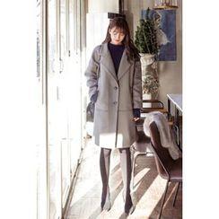 CHERRYKOKO - Wide-Lapel Single-Breasted Wool Blend Coat