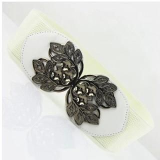 Charm n Style - Metal Leaf Buckle Elastic Belt