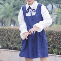 Cattie - Bow Detail Mock Two-Piece Dress