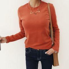 DANI LOVE - Crew-Neck Long-Sleeve Brushed-Fleece T-Shirt