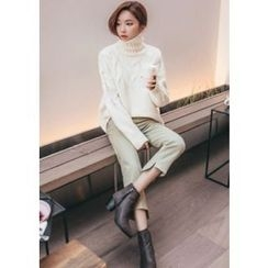 Chlo.D.Manon - Turtle-Neck Cable-Knit Sweater