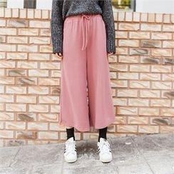 clicknme - Drawstring-Waist Wide-Leg Pants