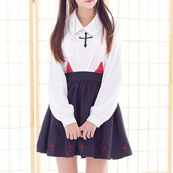 GOGO Girl - Cross Embroidered Blouse / Devil Accent A-Line Skirt