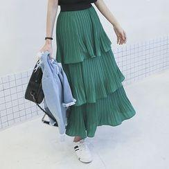 DABAGIRL - Ruffle-Tiered Long Pleat Skirt