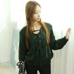 Dodostyle - Lace-Up Detail Knit Top