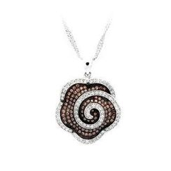 BELEC - 925 Sterling Silver Flower Pendant with Brown and White Cubic Zircon and Necklace