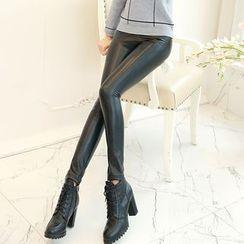 Romantica - Faux-Leather Leggings