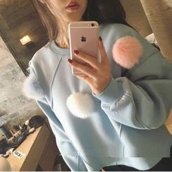 Eva Fashion - Furry Ball Accent Sweatshirt