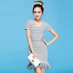 Strawberry Flower - Pattern Ruffle Knit Dress