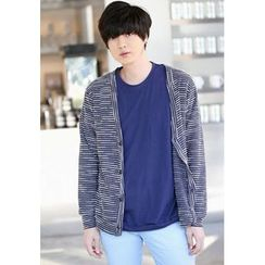 PLAYS - V-Neck Stripe-Patterned Cardigan