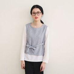 三木社 - 雪纺拼接假两件衬衫