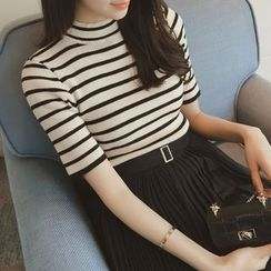Diado - Stripe Mock-Neck Short-Sleeve Knit Top