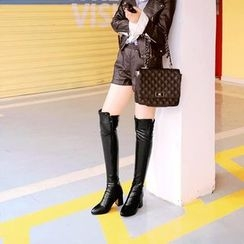 Pretty in Boots - Chunky Heel Over-the-Knee Boots