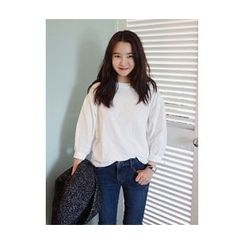 maybe-baby - Round-Neck Puff-Sleeve Top