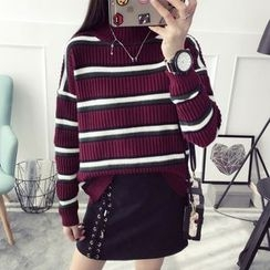Qimi - Striped High Neck Sweater