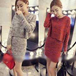 氣質淑女 - 套裝: 混色針織上衣 + 裙子