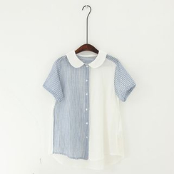 11.STREET - Pinstriped Panel Short-Sleeve Blouse