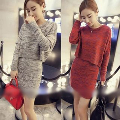QZ Lady - Set: Mélange Knit Top + Skirt