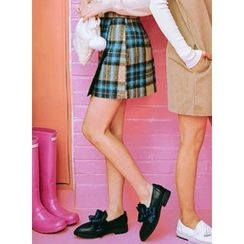 icecream12 - Check Mini Skirt with Belt