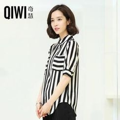 QIWI - Short-Sleeve Striped Chiffon Blouse