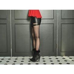 UUZONE - Faux-Leather Cutaway-Detail Mini Skirt