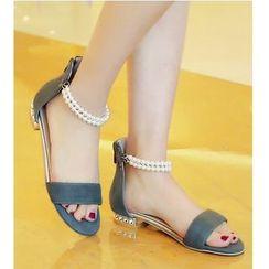 Freesia - Faux Pearl Cuffed Sandals