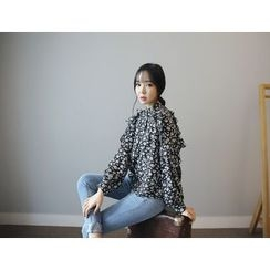 Envy Look - Mandarin-Collar Floral Frilled Blouse