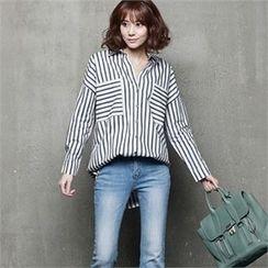 HALUMAYBE - Drop-Shoulder Striped Shirt