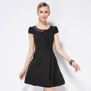 O.SA - Cap-Sleeve Asymmetric Beaded Pleated Dress