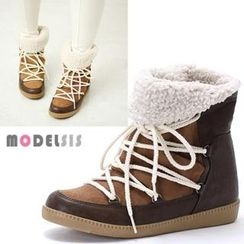 MODELSIS - Fleece-Line Lace-Up Ankle Boots