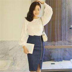 St. Mary - Set: Puff-Sleeve Top + Zip-Detail Pencil Skirt