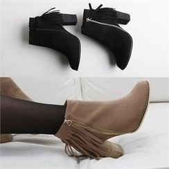 Reneve - Chunky-Heel Fringed Faux-Suede Ankle Boots