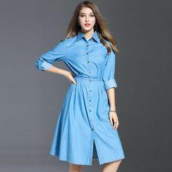 Elabo - A-Line Denim Shirtdress