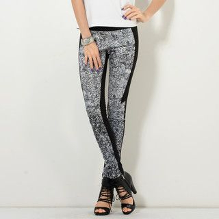 YesStyle Z - Elastic-Waist Patterned-Panel Pants