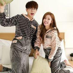 SHIRLEY - Couple Matching Pajama Set: Hooded Striped Long Sleeve Top + Pants