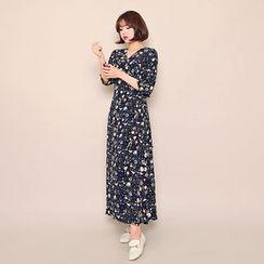 HOTPING - Wrap-Front Pattern Long Dress