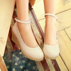 Pastel Pairs - Ankle Strap Wedge Pumps