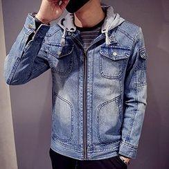 maxhomme - Hooded Washed Denim Jacket
