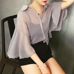 Cloud Nine - Set: Batwing-Sleeve Chiffon Shirt + Camisole