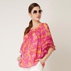O.SA - Crochet-Trim Printed Chiffon Top