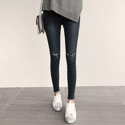 NIPONJJUYA - Slit-Knee Washed Skinny Jeans