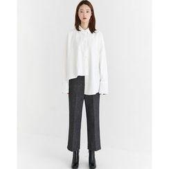 Someday, if - Contrast-Cuff Asymmetric-Hem Shirt
